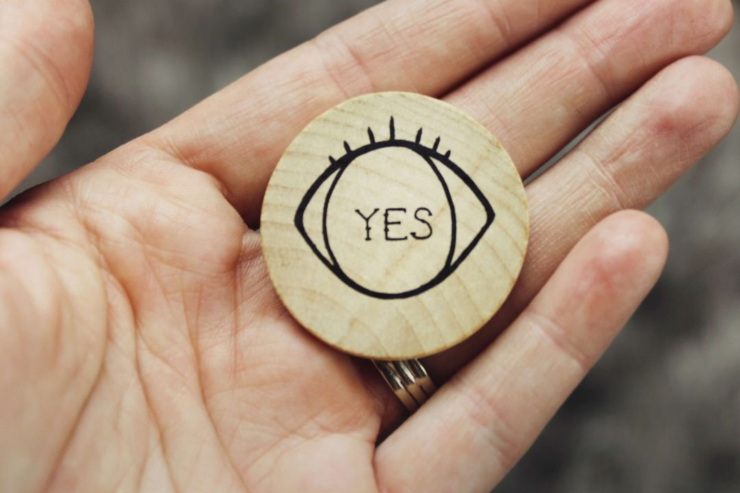 yes on wood piece